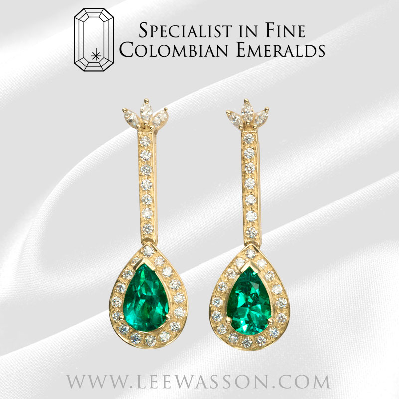 Colombian Emerald Earrings Yellow Gold 18k Pear Shape 19551